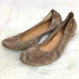 J. CREW Sz 9.5 Tan Suede Leather Ballet Flats S